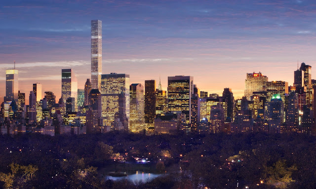 432 Park Avenue at sunset from central park