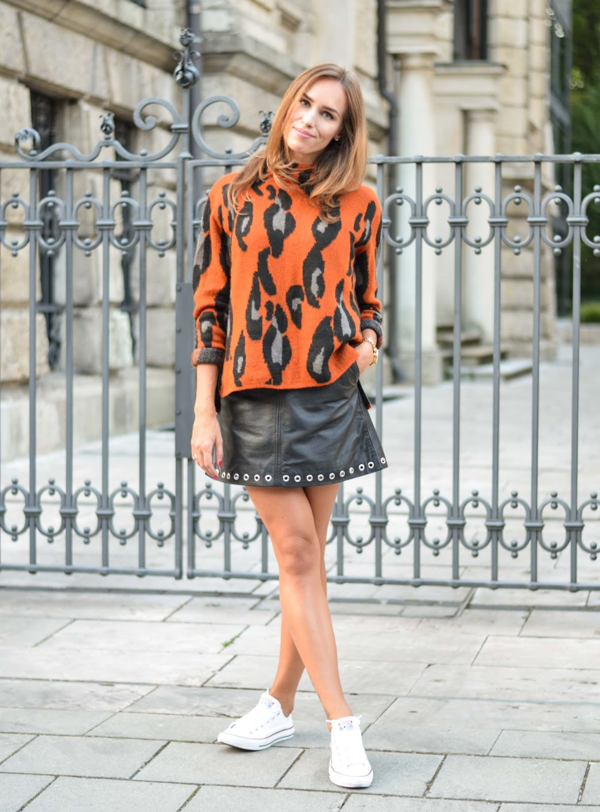 kristjaana mere leopard sweater leather mini skirt