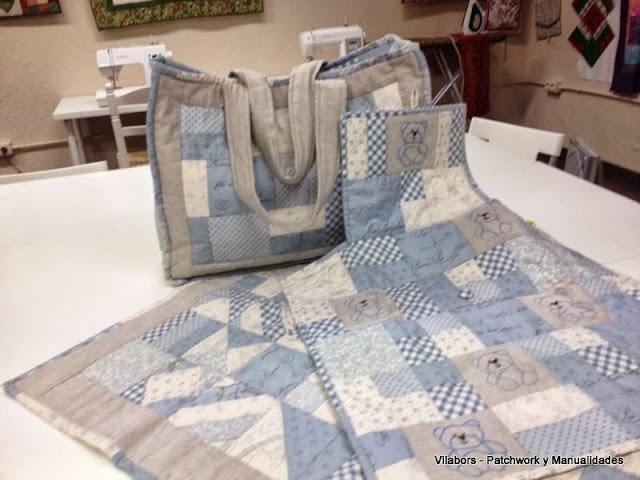 Pañalera, cambiador y manta de bebé hecha en Patchwork