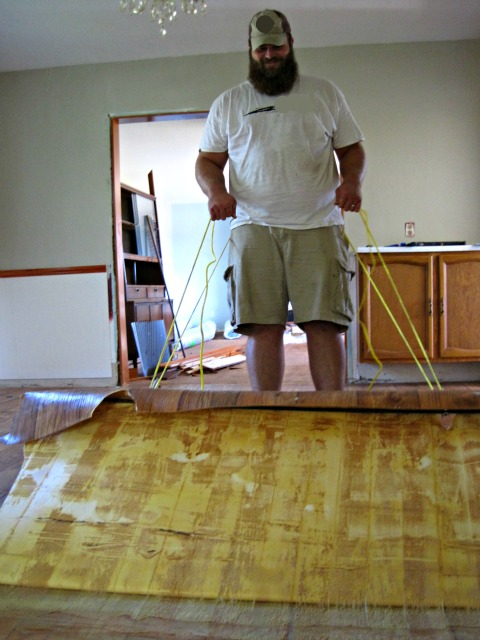 Superb We Quickly Realized That It Was Best To Carefully Cut The Flooring Into  Smaller Sections To Pull It Up  Because It Was Glued Down With What I Can  Only Hope ...