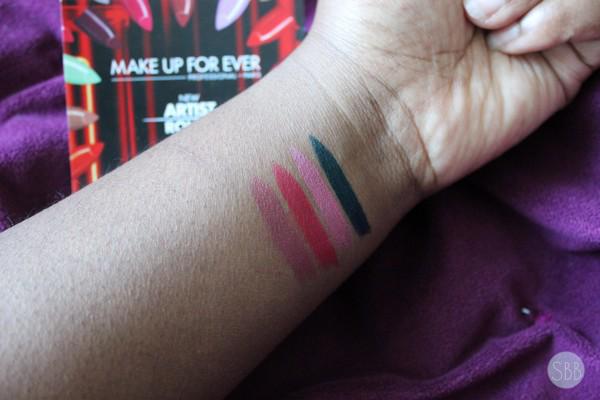 MUFE lipstick swatches