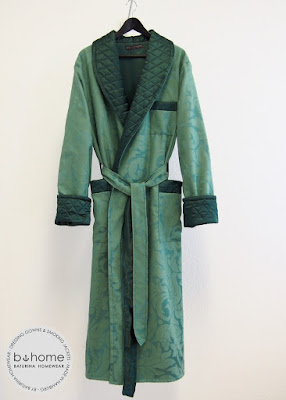 Mens Man Dressing Gown Classic English Style Green Mint Dark Floral Baroque Patterned Long Robe Bespoke Cotton Silk