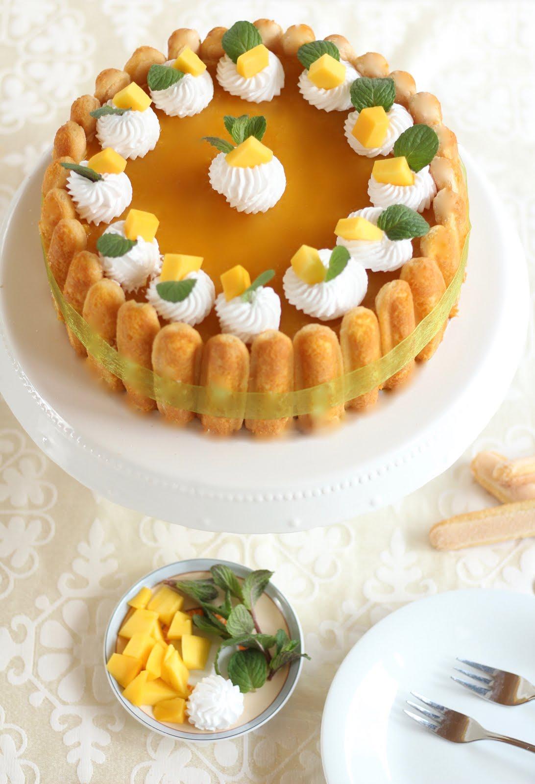 Schneller No Bake Mango Cheesecake / Leckere Mango Charlotte ohne Backen | Rezept und Video von Sugarprincess