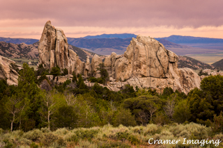 Cramer Imaging's professional quality landscape photograph of a rock formation at sunset in City of Rocks National Reserve, Idaho