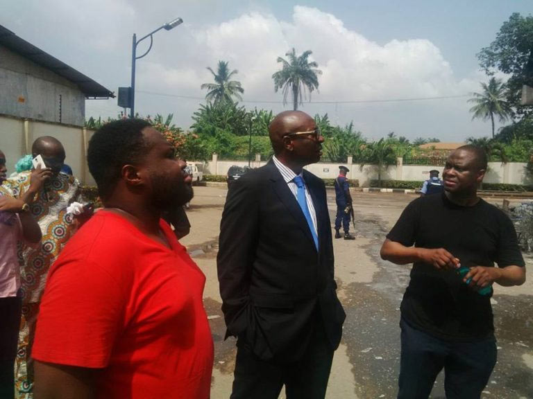 Ize-Iyamu inspects Hallmark Supermarket fire tragedy, blames Oshiomhole, Obaseki