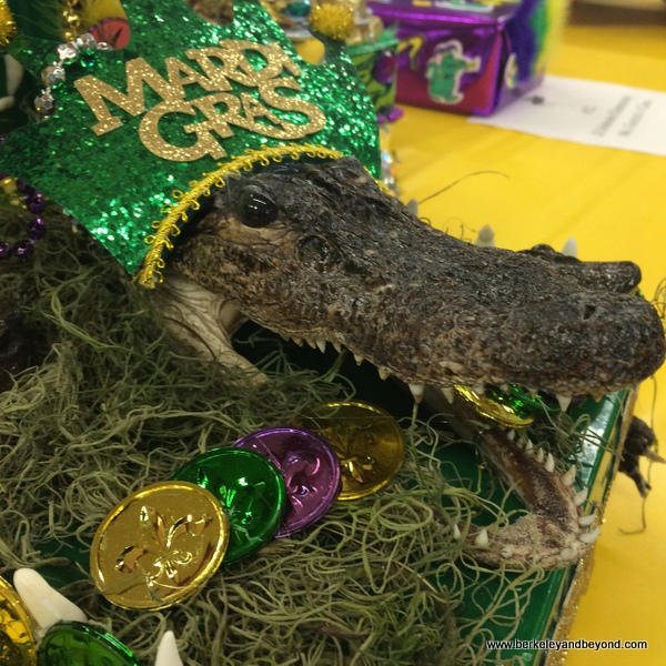 stuffed alligator in Mardi Gras hat, Lake Charles, Louisiana