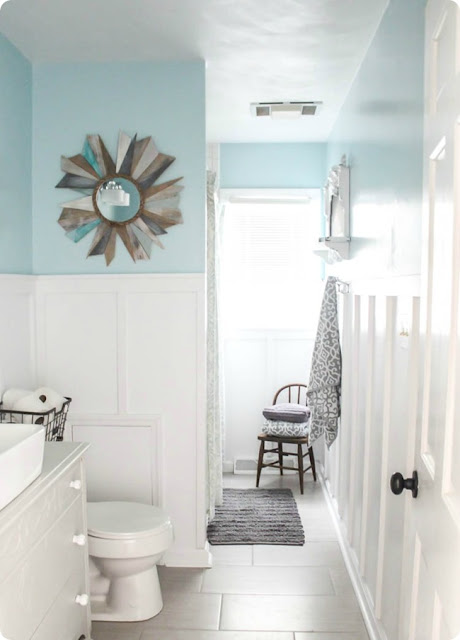 Tall, easy board and batten bathroom