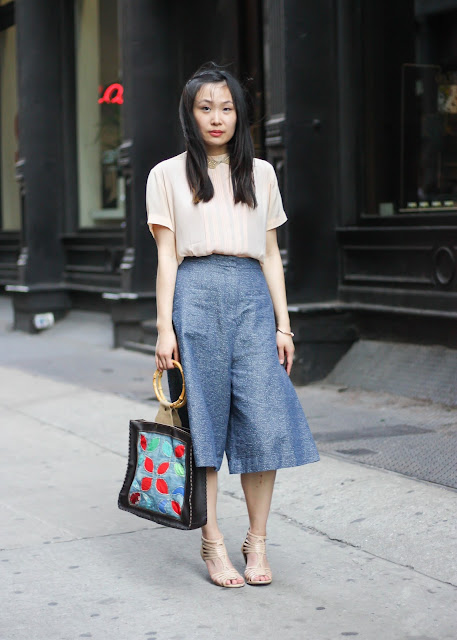 Denim Culottes and Feminine Pink Blouse