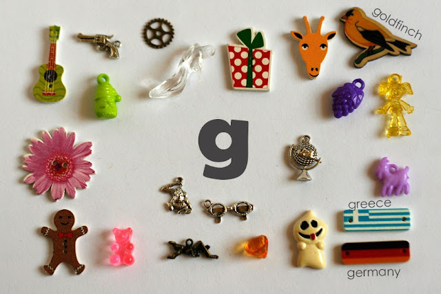 TomToy Individual letter G I spy trinkets for alphabet, Miniature abc objects, Montessori alphabet. Sorting toddler activities