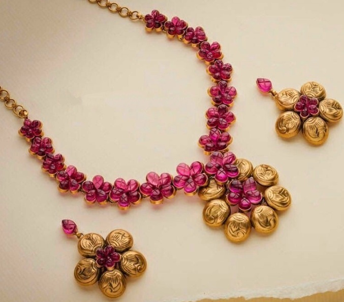 necklace set plated gold peacock designer