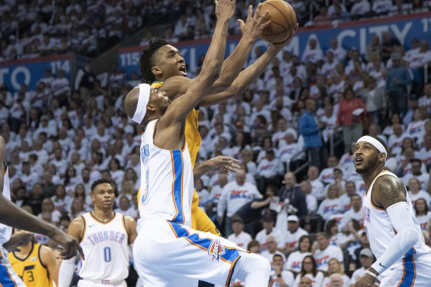 NBA playoffs live: Donovan Mitchell carries Utah past Oklahoma City; LeBron, Cleveland tie up series