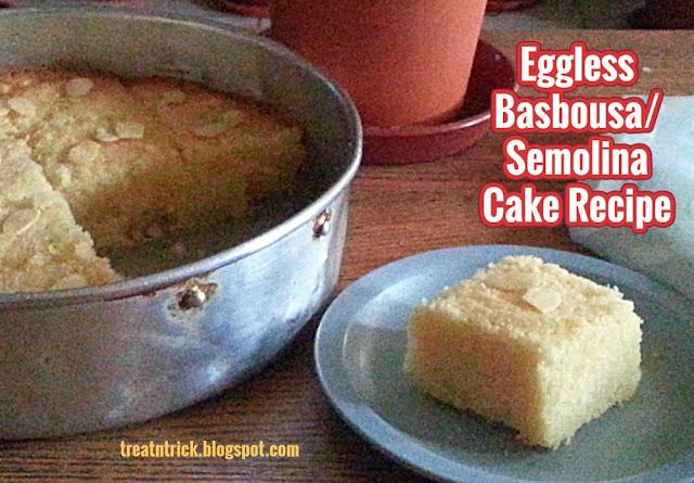 Eggless Basbousa/Semolina Cake Recipe @ treatntrick.blogspot.com