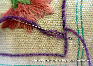 Crewel Sampler (by Elsa Williams): Detail of whipped chain stitch