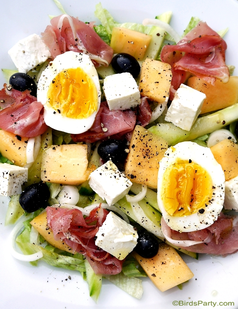 Summer Party Recipe | Cantaloupe & Cured Ham Salad - BirdsParty.com