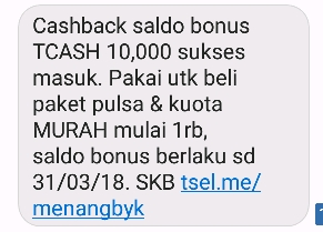 Tcash telkomsel Cashback 20%