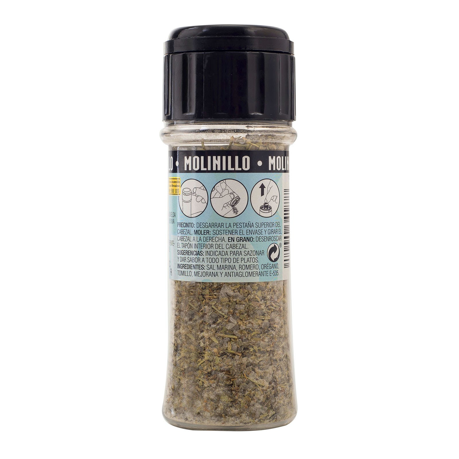 Molinillo de sal marina con hierbas Hacendado