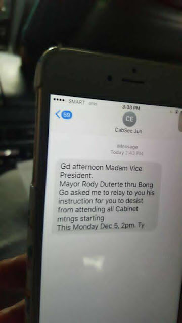 "The Vice President, Leni Robredo was hired via phone call by President Duterte to become the Housing Secretary. And recently, a break-up text was sent to her to stop attending all Cabinet meetings in Malacanang.  Soon after the tex,  Philippine Vice President Leni Robredo resigned from her post citing that the order will make it impossible for her to perform her duties.  The text message was sent by Secretary Jun Evasco Jr which reads as follows:  Cabinet Secretary Jun Evasco Jr's text to Vice President Leni Robredo. Photo by Barry Gutierrez.   ""Good afternoon Madam Vice President. Mayor Rody Duterte thru Bong Go asked me to relay the message to you to desist from  attending all Cabinet meeting starting December 5, 2 p.m. Thank you.""  Following the text message, Leni Robredo resigned as chief for Housing and Urban Development Coordinating Council. Her public statement also published and reads as follows:  ""Statement of Vice President Leni Robredo 4 December 2016  We had hoped this day would not come. I had been warned of a plot to steal the Vice Presidency. I have chosen to ignore this and focus on the job at hand. But the events of recent days indicate that this plot is now being set into motion.   From the very beginning, the President and I had major differences in principles and values. Since I assumed office, I have been consistent in my opposition to issues such as the burial of former President Ferdinand Marcos in the Libingan ng mga Bayani, extra-judicial killings, reinstating death penalty, lowering the age of criminal liability, and sexual attacks against women.   But we both had a mandate to serve the people. I had hoped that this shared commitment to the poor and marginalized would transcend the differences between us.   So, I took the job of Housing Secretary when it was offered to me.   In barely five months, we have solid accomplishments in HUDCC. This, despite the obstacles thrown our way, which are:   One, the budget for all key shelter agencies in 2017 has been slashed by more than P19 billion. Two, all our key shelter agency appointment recommendations have not been acted on. Three, the Executive Order designed to make HUDCC effective was not signed. Then, we received a text message last Saturday from Cabinet Secretary Jun Evasco, Jr., relaying the President's instruction through Bong Go for me ""to desist from attending all Cabinet meetings starting this Monday, December 5.""   This is the last straw, because it makes it impossible for me to perform my duties. Hence, I am tendering my resignation from the Cabinet on Monday, December 5, 2016. With this resignation, you can expect that I will continue to support the positive initiatives of this administration and oppose those that are inimical to the people's interest.   However, as your duly elected Vice President, I will not allow the Vice Presidency to be stolen. I will not allow the will of the people to be thwarted. I will continue to serve the Filipino family and fulfill their dream for a better life.""    According to the Vice President, there is a plot to steal the Vice Presidency from her.   She also mentioned that she has solid accomplishments in barely five months of being a Housing Secretary in spite obstacles thrown at them .  ""This, despite the obstacles thrown our way, which are:   One, the budget for all key shelter agencies in 2017 has been slashed by more than P19 billion.   Two, all our key shelter agency appointment recommendations have not been acted on.   Three, the Executive Order designed to make HUDCC effective was not signed.   Then, we received a text message last Saturday from Cabinet Secretary Jun Evasco, Jr., relaying the President's instruction through Bong Go for me ""to desist from attending all Cabinet meetings starting this Monday, December 5...  This is the last straw, because it makes it impossible for me to perform my duties     FINAL ENTRY HERE, LINKS OTHERS  END or DELETE THIS HERE ©2016 THOUGHTSKOTO"