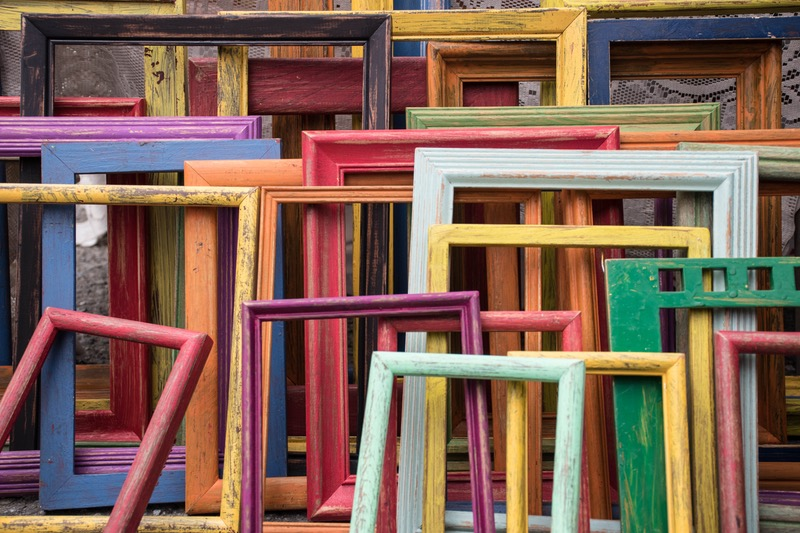 Diverse pile of wood frames