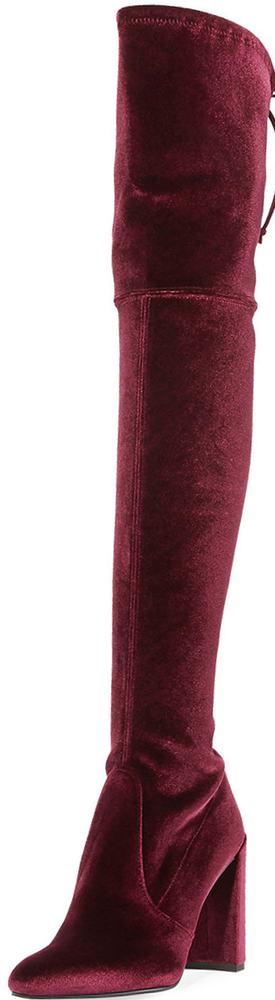 Stuart Weitzman Highchamp Stretch Velvet Over-the-Knee Boot