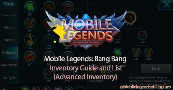 Mobile Legends Advanced Inventory 2 (Crafts) Guide and List