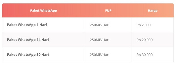 Paket Internet 3 WhatsApp Dalam Negeri