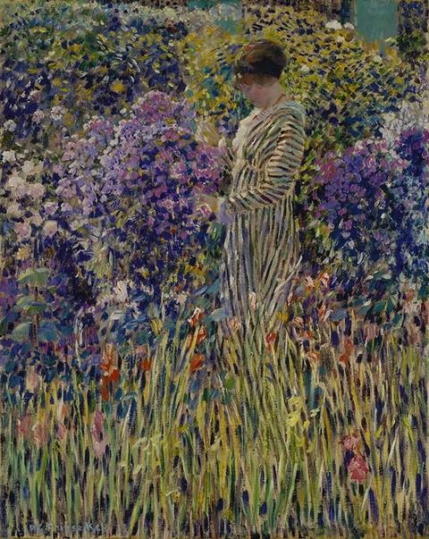 Frederick Carl Frieseke - Lady in a Garden - 1912 - impresionismo americano