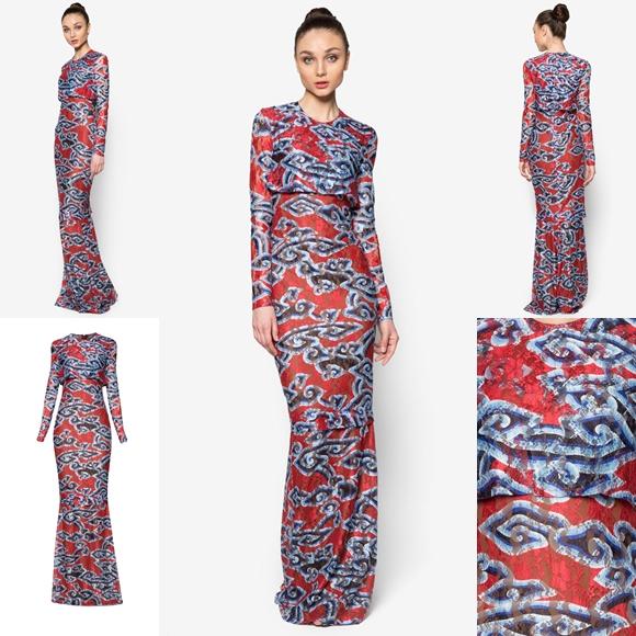 Fesyen Trend Terkini Baju Raya 2016 By Rizalman Marmar Collection Dark Red
