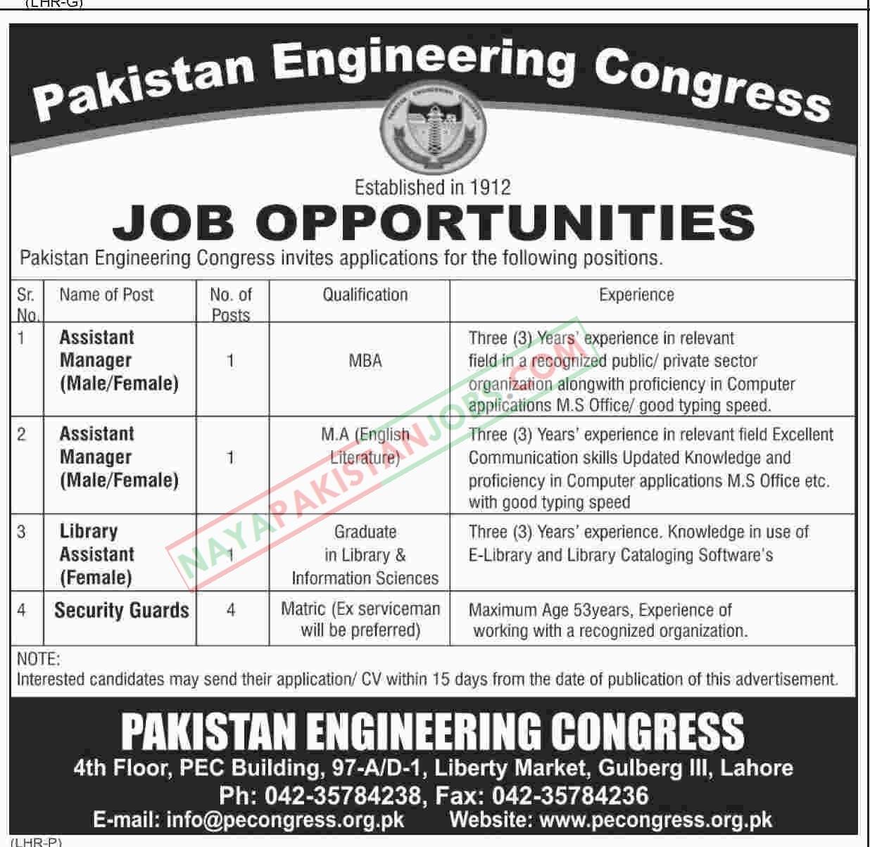 Latest Vacancies Announced in Pakistan Engineering Congress 14 October 2018 - Naya Pakistan