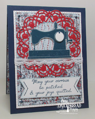 ODBD A Time To Mend, ODBD Custom Doily Dies, ODBD Americana Quilt Paper Collection, ODBD Custom Double Stitched Circles Dies, ODBD Custom Double Stitched Rectangles Dies, ODBD Custom Rectangles Dies, Card Designer Angie Crockett