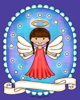 Angel- coloring pages available with different hair styles