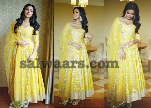 Amala Paul in Lemon Yellow Anarkali