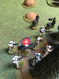 Luke is killed in a hail of Stormtrooper blaster fire