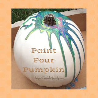 Blog With Friends, a multi-blogger project based post incorporating a theme, Spooky and Fun | Paint Pour Pumpkin by Rabia of The Lieber Family Blog | Featured on www.BakingInATornado.com