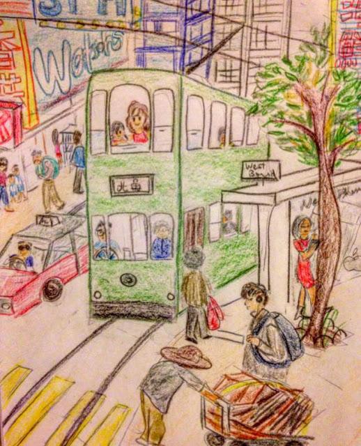 hong kong tram dingding drawing momdaughter