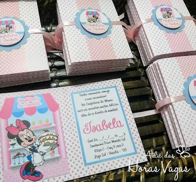 convite de aniversário infantil artesanal personalizado 1 aninho confeitaria da minnie mouse disney estampa poá bolinhas rosa azul menina