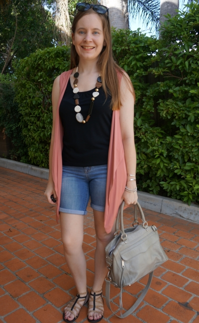 summer layer denim shorts pink sleeveless jacket vest outfit statement necklace RM MAM bag | awayfromblue