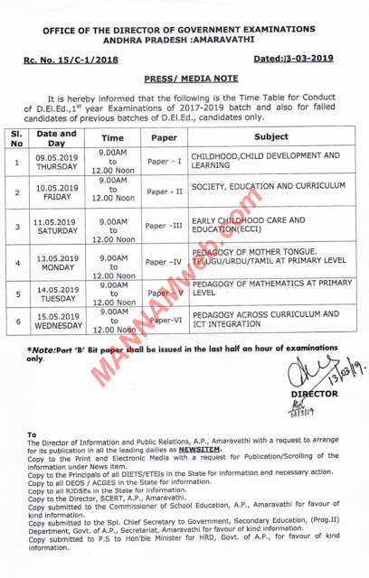 D.El.Ed - 1st Year Exams 2017- 2019  batch Time Table ,Rc.15 ,Dt.13/3/2019