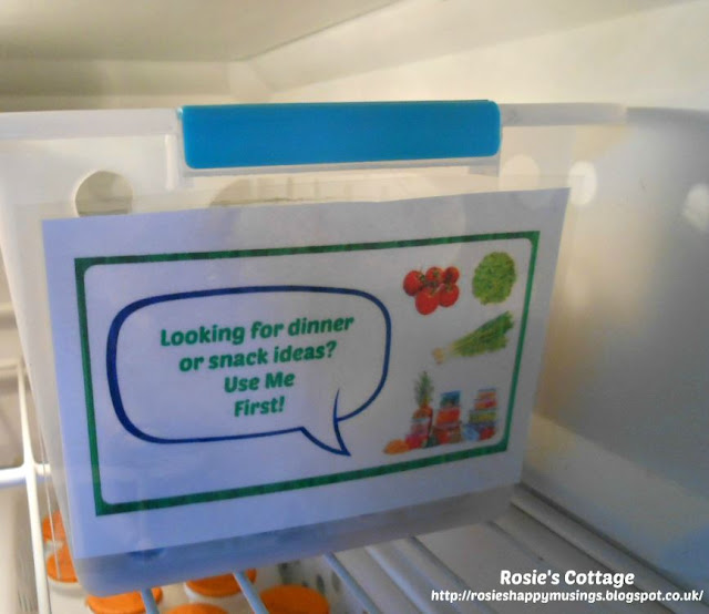 "Cutting back food waste by making a ""use me now"" bin for the refrigerator."