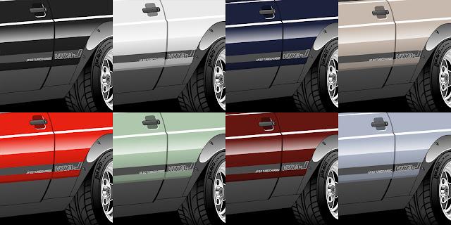 Imagem mostrando algumas outras cores testadas no Voya-J