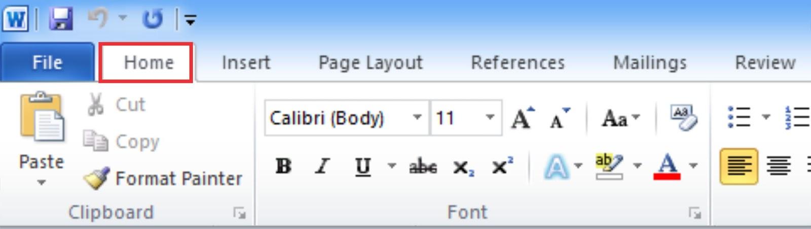 klik tab Menu Home pada tab menu atau tekan Alt+H
