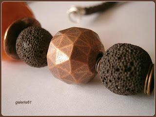 naszyjnik lawa wulkaniczna magma porcelana brązowy pomarańczowy