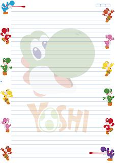 Folha Papel Pautado universitario Yoshi PDF para imprimir A4