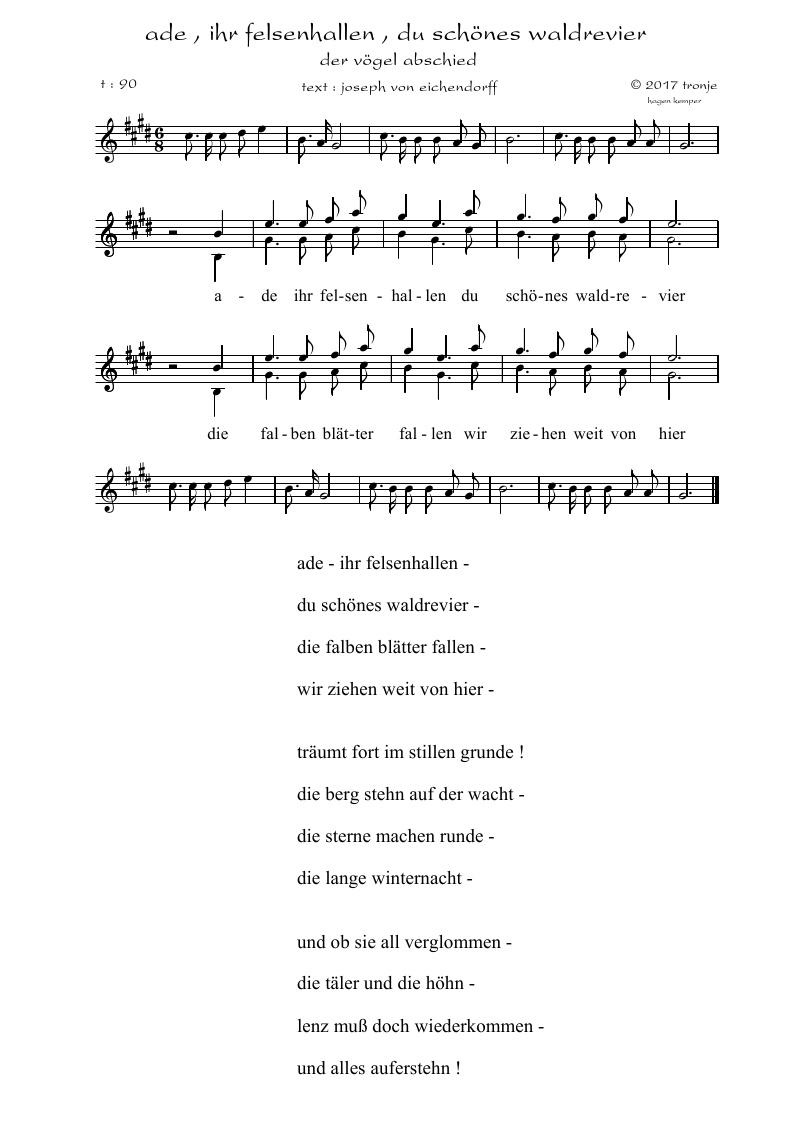 Lieder Saitenspiel Tronjes Blog Joseph V Eichendorff Der