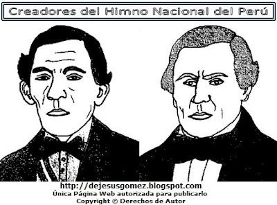 Imagen de los Creadores del Himno Nacional del Perú, José Bernardo Alcedo y José de la Torre Ugarte.Dibujo de los Creadores del Himno peruano hecho por Jesus Gómez