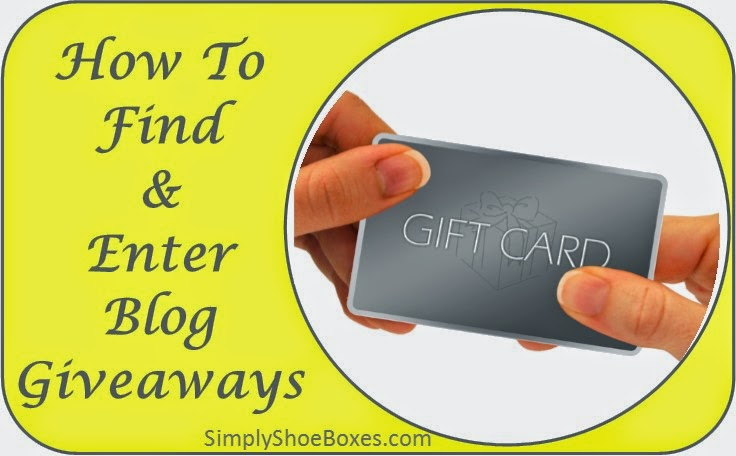 How to find and enter blog giveaways to help fill Operation Christmas Child shoeboxes.