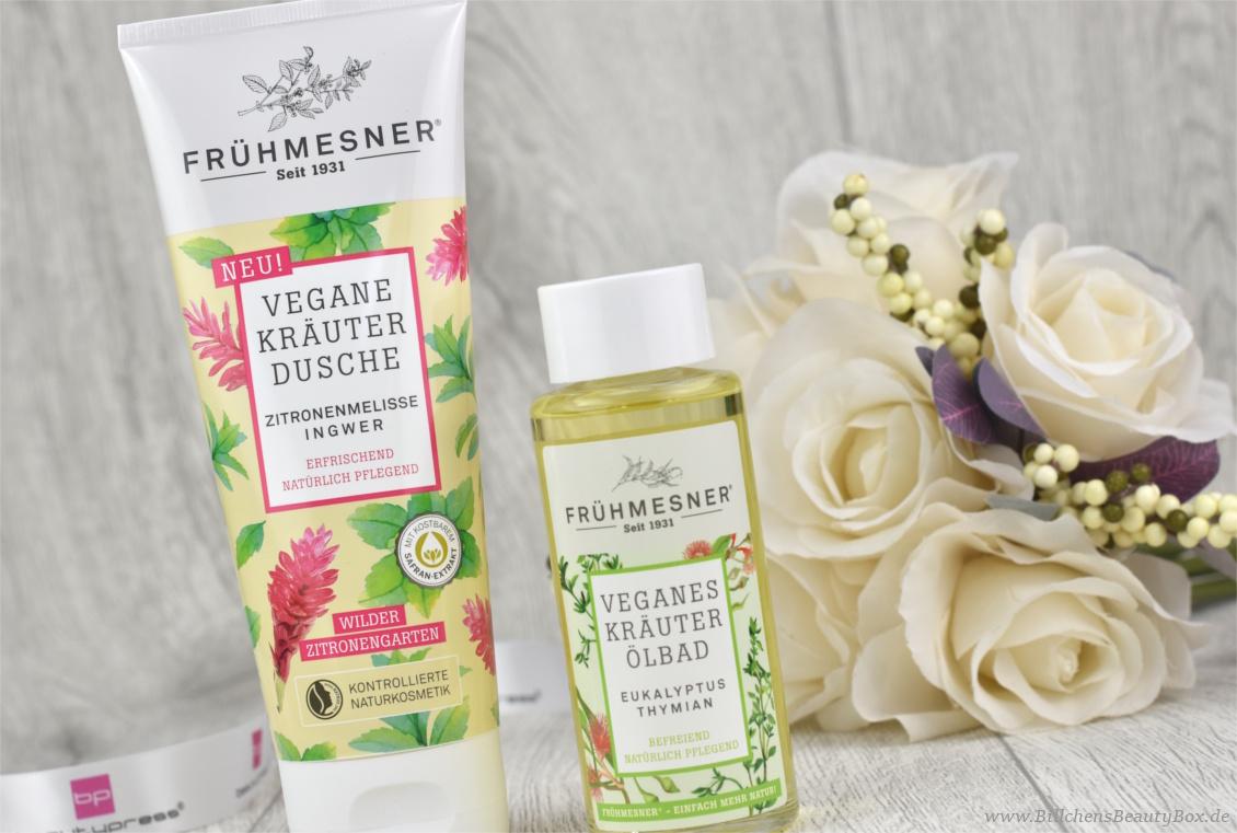 beautypress News Box Dezember Special Edition - Frühmesner – Vegane Kräuterdusche Zitronenmelisse Ingwer und Kräuter Ölbad Eukalyptus Thymian