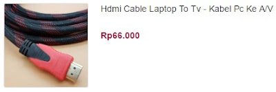 harga kabel hdmi laptop ke tv