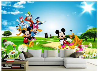 Desain Wallpaper Dinding Lucu Gambar Mickey Mouse