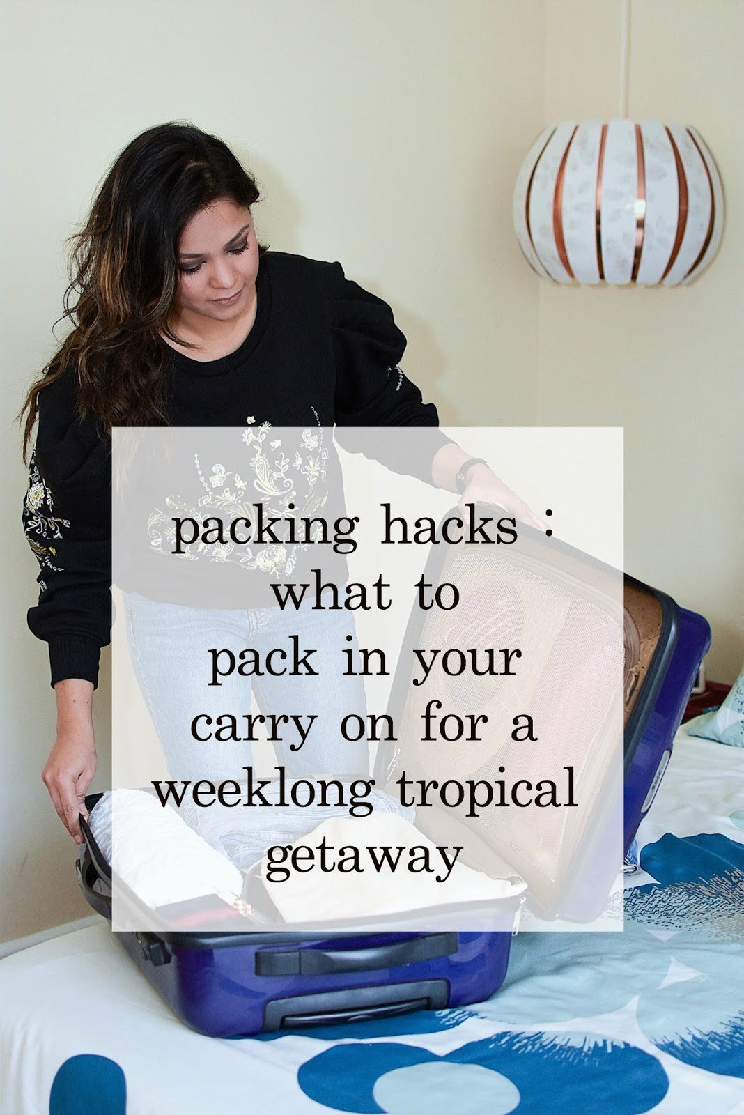 what to pack in your carry on, seven days of packing, holiday travel, packing hack, what to bring to a tropical getaway, holiday travelling, myriad musings, jeans, lbd, saumya