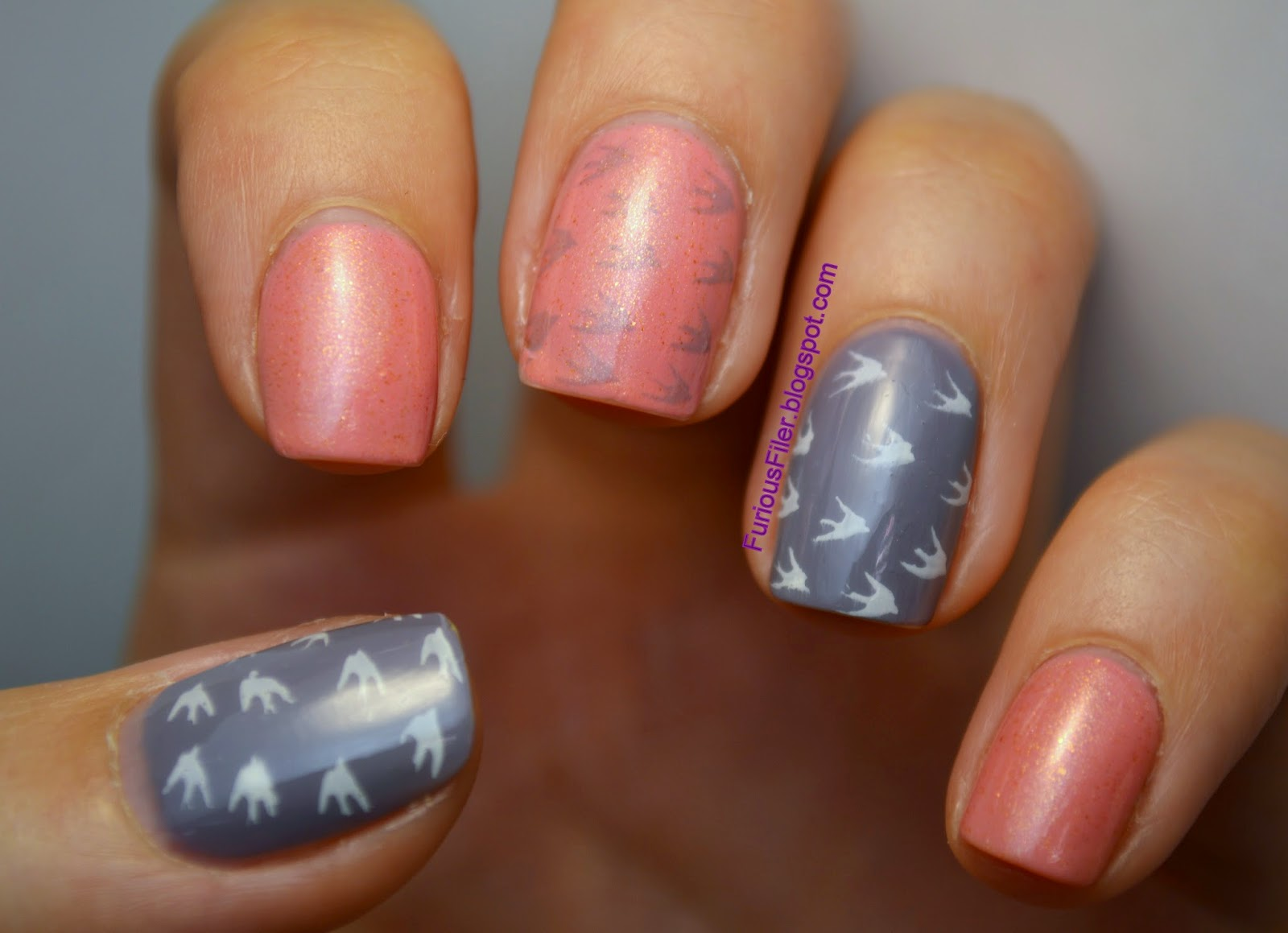 pink grey bird stamps nail art